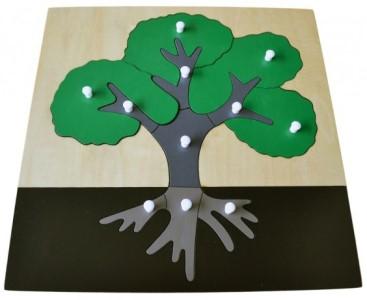 Montessori dřevěné vkládací puzzle strom